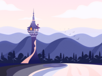 Lonely tower tower illustration
