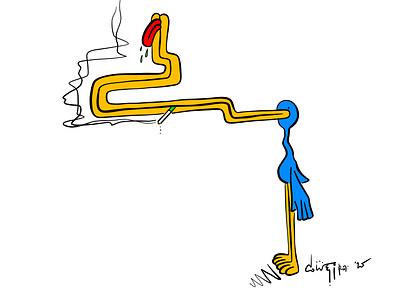 Duck Guy tongue smoke smoking duck guy duck c.weird art c.weird cweird weird character design vector illustration