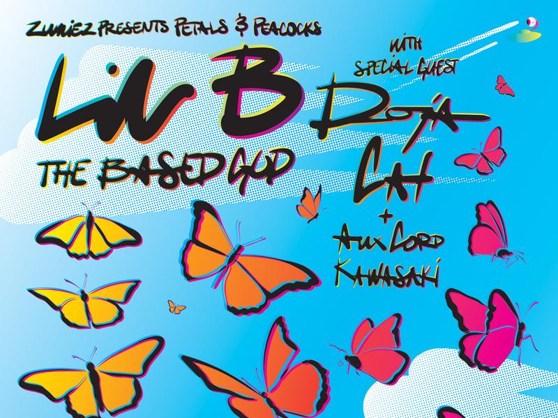 Lil B with special guest: Doja Cat music doja cat zumiez butterfly butterflies lil b rock and roll vector rock poster poster design poster art poster illustration concert poster