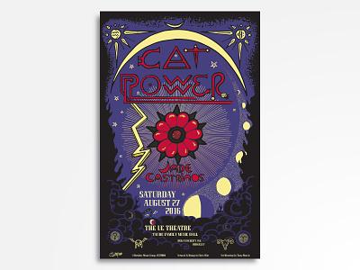 Cat Power w/ Jade Castrinos eyeball gig poster folk occult tarot card tarot astrology cat power vector rock poster rock and roll poster design poster art poster music illustration concert poster