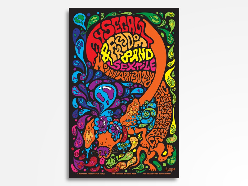 Ty Segall & Freedom Band w/ Sextile gig poster rock psychedelia psychadelic psychedelic ty segall punk vector rock poster rock and roll poster design poster art poster music illustration concert poster