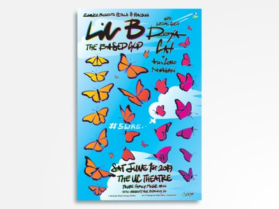 Lil B with special guest: Doja Cat + Aux Cord & Kawasaki hand lettering based halftone eyeball butterflies butterfly moo doja cat tybg swag lil b gig poster vector rock poster poster design poster art poster music illustration concert poster
