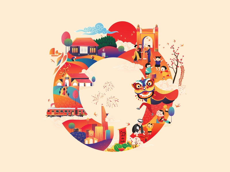 Tet _ A circle tradition of Vietnamese culture 2018 gradian child market farm city happy new year unconditional traditional lucky money 2018 comma media vector flat  design infographic design color illustration design character design character