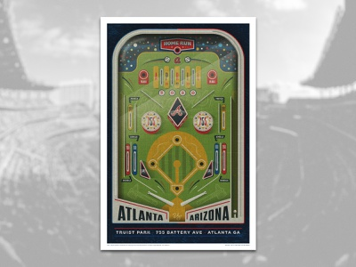 Braves vs. DBacks poster design poster art pinball mlb arizona diamondbacks atlanta braves baseball poster sports