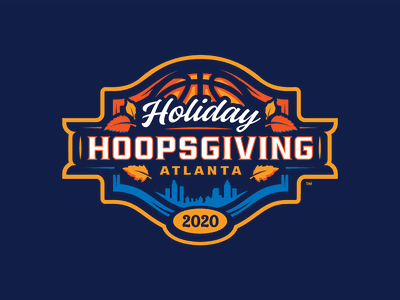 Holiday Hoopsgiving college basketball event logo atlanta thanksgiving leaves basketball sports design sports logo