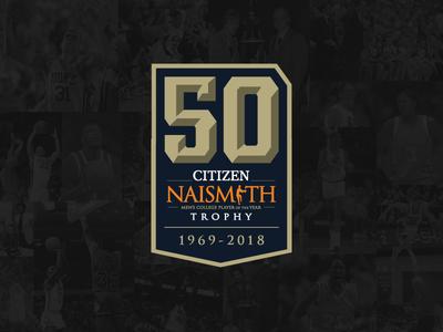 Naismith 50th Anniversary sports logo logo design college basketball naismith trophy