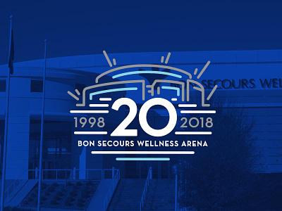 Bon Secours Wellness Arena 20th Anniversary commemorative logo arena sc south carolina greenville anniversary logo sports logo