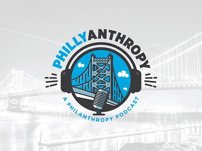 Phillyanthropy bridge logo logo design podcast ben franklin bridge philadelphia