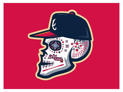 Braves Sugar Skull skull mexican skull baseball atlanta braves sugar skull