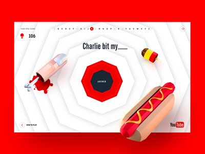 YouTube 10th Anniversary multiple choice trivia web game charlie bit my severed finger hotdog game ui game concept