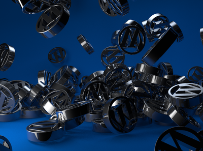 WordPress logo chrome cinema4d c4d logo 3d