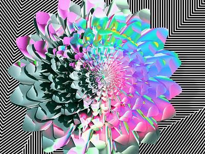 Spring flower — An artwork collage of 3D + computational art flower design colors python drawbot c4d 3d computational art