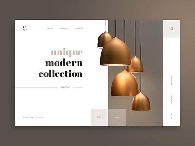 Lamps store Web-site concept brown lamp design web ui site concept