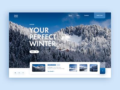 Winter Tour Web-site concept mountain forest tour xd travel france alps winter blur blue adventure design web ui site concept