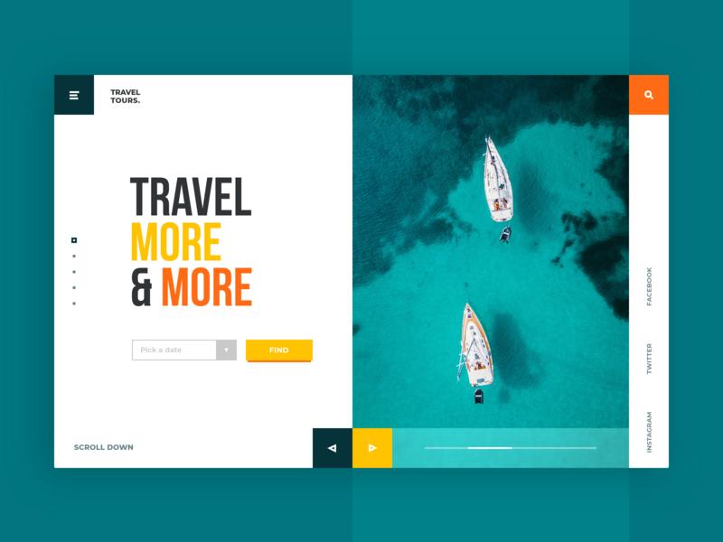 Sea Travel Tour Web-site concept boat ocean travel sea yacht tour turquoise green adventure design web ui site concept