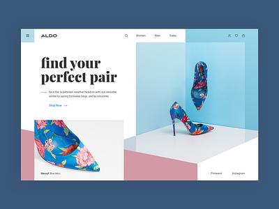 ALDO Shoes Web-site concept pastel store aldo pink blue design web ui site concept shoes