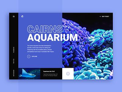 Cairns Aquarium Web-site concept australia xd cairns aquarium ocean sea water violet blue design web ui site concept