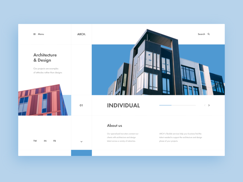 Architecture & Design Agency Web-site concept xd clean minimal architecture house blue design web ui site concept