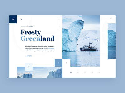 Frosty Greenland Web-site Concept (updated) frost greenland white xd travel tour sea adventure blue design web ui site concept