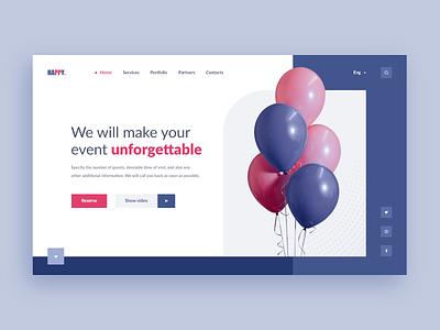 Organization of celebrations. Web-site concept holidays organization celebration clean white happy balloon xd pink violet design web ui site concept