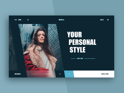 Fashion Store Web-site concept blue blur street girl model wear fashion xd design web ui site concept
