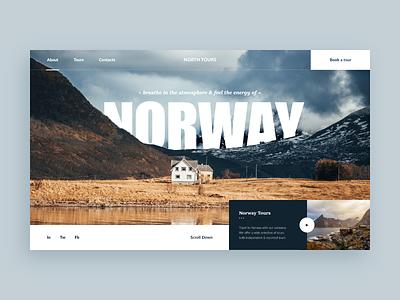 Norway Tours Web-site concept atmosphere norway house travel tour blue web design adventure xd ui site concept