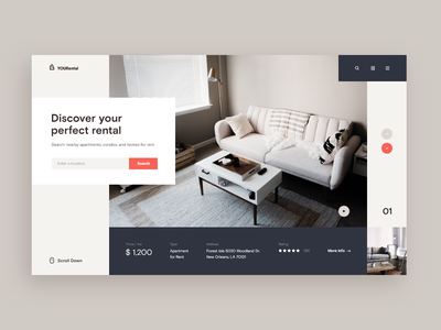 Rental Service Web-site concept beige sofa apartment house service ux xd design web ui site concept flat property real estate