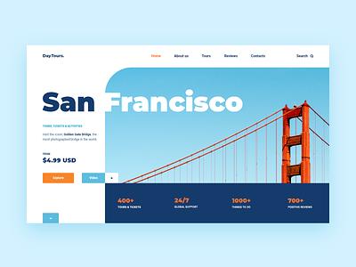 San Francisco Travel Tours Web-site concept bridge golden orange gate golden gate bridge san francisco clean travel tour adventure xd blue design web ui site concept