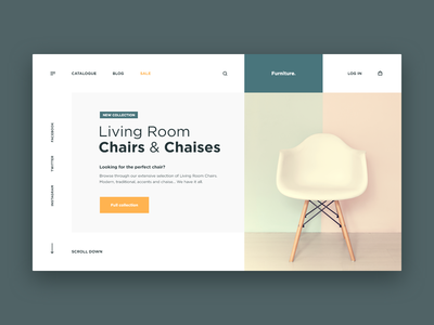 Furniture Store Web site Concept chair green chaise room store house clean design web ui site concept xd furniture