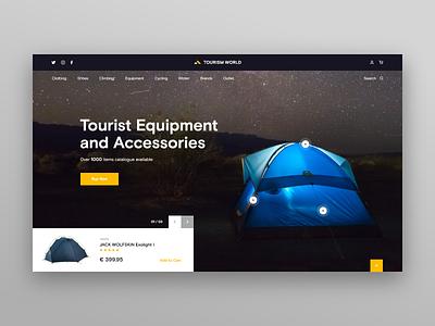 Tourism World e-store Web-site Concept accessories equipment tent night sky ux e-store store tourist tourism adventure tour travel xd blue design web ui site concept
