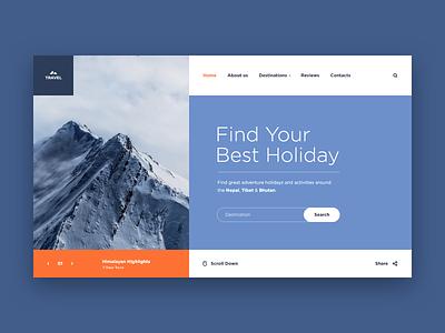 Travel Mountains Web-site concept himalayas nepal mountain travel tour adventure blue xd design web ui site concept