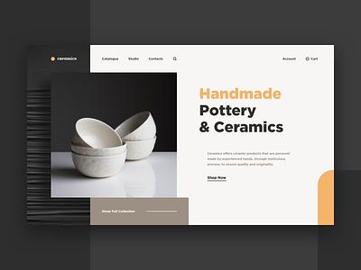 Pottery & Ceramics Web-site ceramics pottery handmade xd design web ui site concept