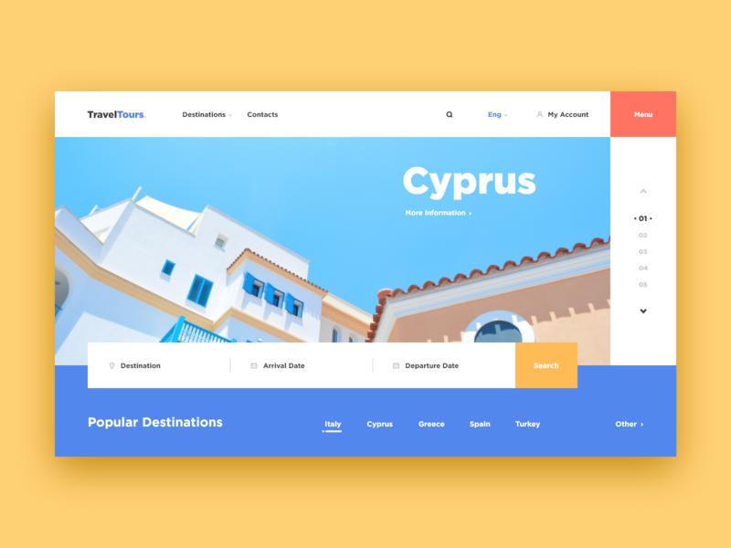 Travel Tours Web-site concept color destination cyprus sea travel tour adventure blue xd design web ui site concept