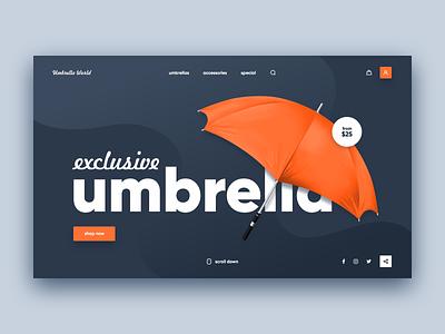 Umbrella Store Website Concept blue orange umbrella xd design web ui site concept