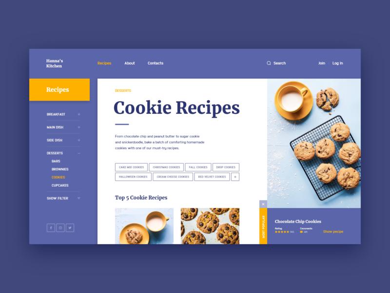 Hanna's Kitchen. Web site Concept cookies cookie kitchen recipes recipe violet design web ui site concept