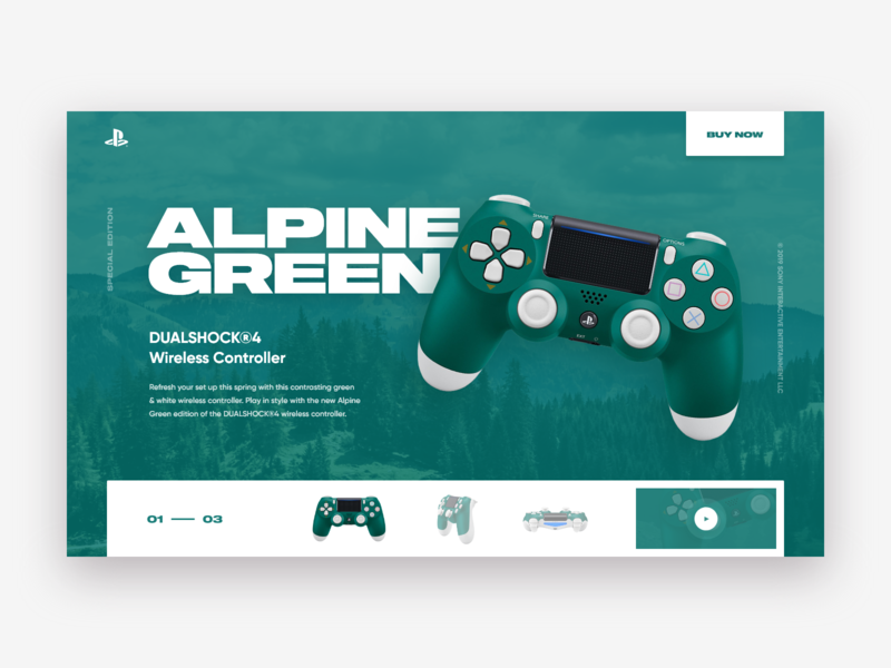 Dualshock 4 Promo Page Concept green gamepad playstation dualshock alps xd design web ui site concept