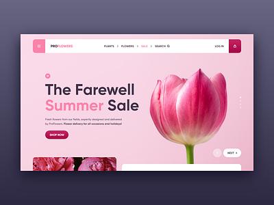 ProFlower web site concept purple violet plants clean plant pion tulips tulip flower pink xd design web ui site concept