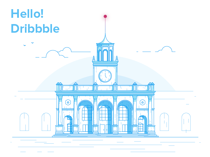 Hello Dribbble! terminal building firstshot architecture illustrations debut