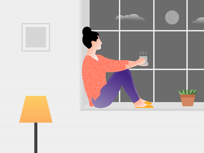 Quarantine Illustration - Stay Home Stay Safe coronavirus corona stay safe stayhome illustration art first illustration illustrator window coffee figma uidesign illustration