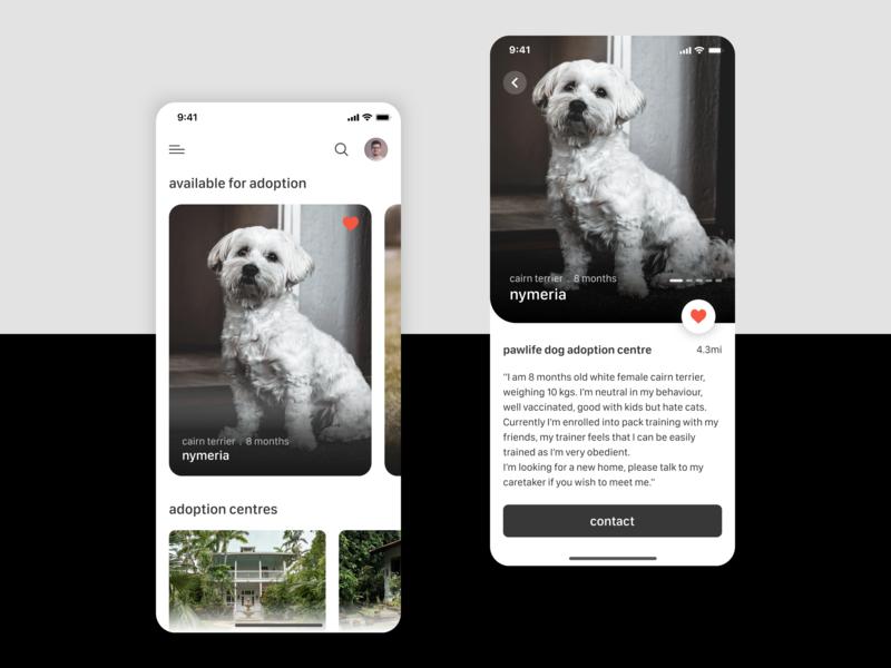 Pet Adoption App ios 10 ui  ux dog app pet app pet design