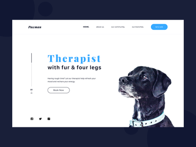 Dog therapy website uiux ui pet therapy landing screen website dog therapy webdesign