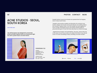 Acne Studios · Seoul acnestudios seoul webdesign web ui ux typography design