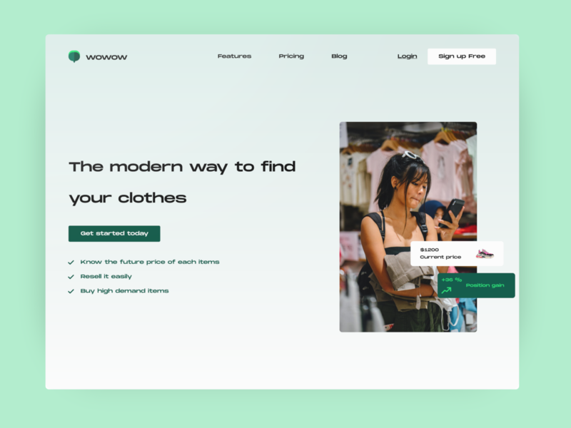 WOWOW - Clothes Finder header home website ui design finder clothes finder clothes ui