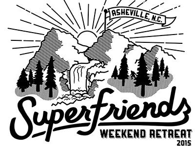 Superfriends Shirt Design typography mountains sun asheville sasquatch line drawing