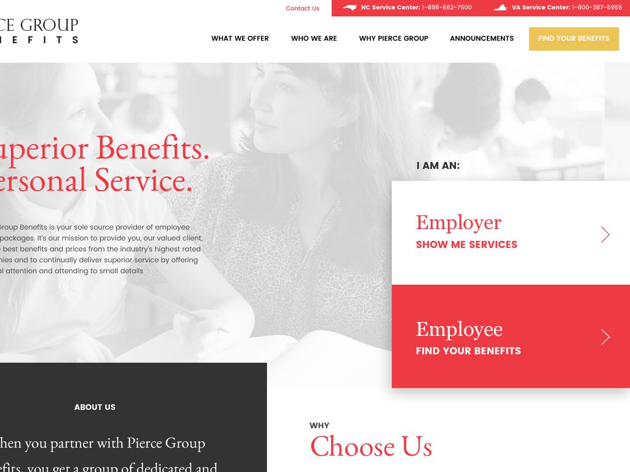 Pierce Group Homepage parallax brand redeemer hero benefits