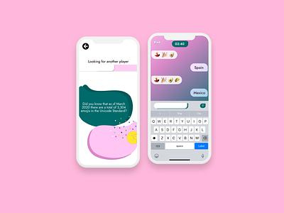Emojinary UI mobile game ui mobile ux mobile ui trivia bubbles chat gaming game design android ios app game art game gradients ux ui digital design color branding
