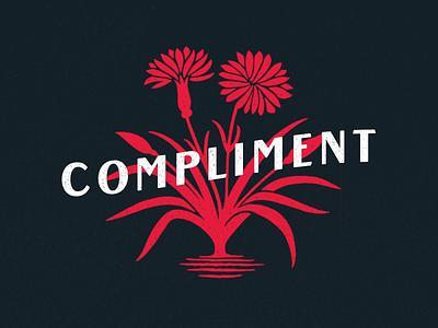 Compliment cha ching vintage wordmark icon logo flowers flower ui studio