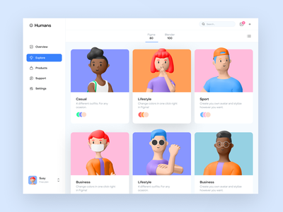 3d character kit 3d dashboard dailyui dayliui illustration character design blender 3d character figma