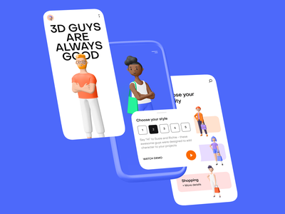3d guys mobile 3d character ui blender figma app illustration 3d character design