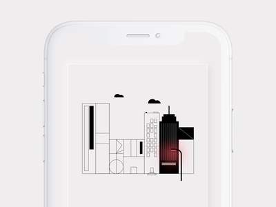 Mobile city illustration ios iphone animation ux ui illustration design interface button app